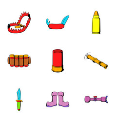 hunt icons set cartoon style vector image vector image
