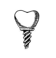 Isolated sketch of a tooth implant vector image vector image