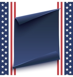 Blue curved paper banner on top of American vector image vector image