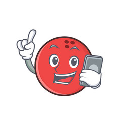 bowling ball character cartoon with phone vector image vector image