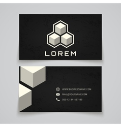 Business card template abstract cubes concept vector