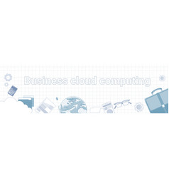 business cloud computing word on squared vector image