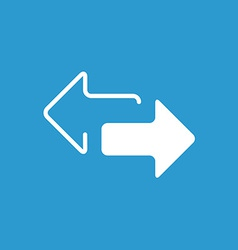 2 side arrow icon white on the blue background vector