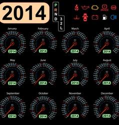 2014 year calendar speedometer car vector