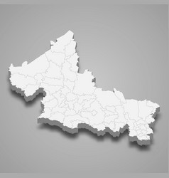 3d map san luis potosi is a state mexico vector