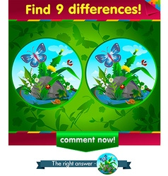 9 differences butterfly vector