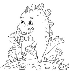 a children coloring bookpage little dino vector image