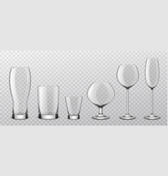 alcoholic drinks realistic glass glasses vector image