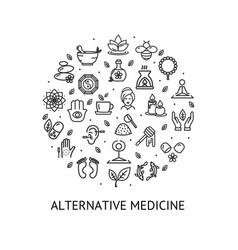 alternative medicine round design template contour vector image