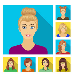 Avatar and face flat icons in set collection vector