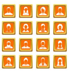 avatars set icons set orange vector image