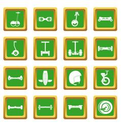 Balancing scooter icons set green vector