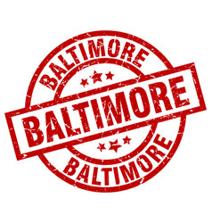 Baltimore red round grunge stamp vector