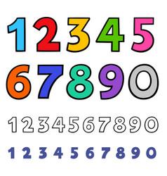 Basic numbers cartoon characters set vector