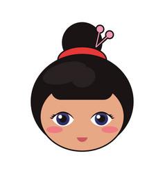 Beauty face kokeshi girl japanese vector