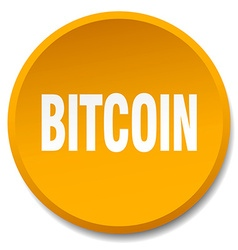 bitcoin orange round flat isolated push button vector image