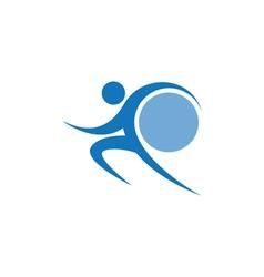 Blue sportman and world vector image