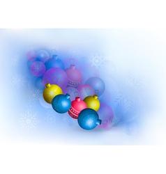 Bright Christmas balls and snowflakes vector image