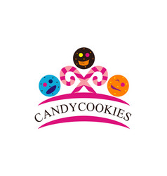 candy cookies logo design template vector image