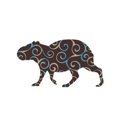 capybara rodent mammal color silhouette animal vector image