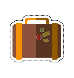 Cartoon suitcase travel with stickers vector