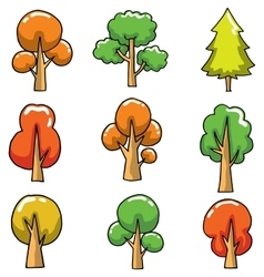 Cartoon tree set collection on doodles vector