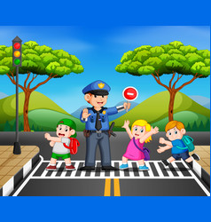 Children cross the road while the police stop vector