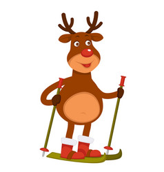 Christmas polar deer with red nose goes skiing vector