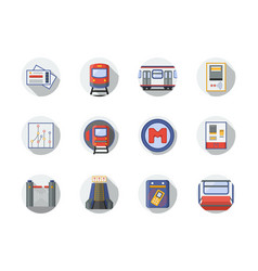 city metro flat round icons vector image