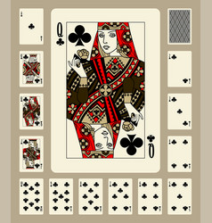 Clubs suit playing cards vector