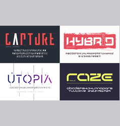 collection various trendy fonts vector image