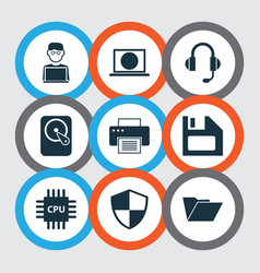 Computer icons set collection of printing machine vector