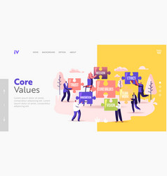 Core values landing page template tiny vector