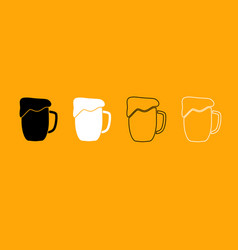 cup beer black and white set icon vector image vector image