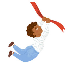 cute little boy holds on to rope and flies vector image