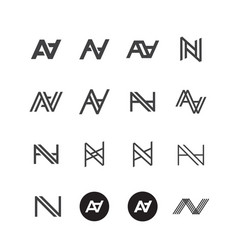 Double a letter logo lettermark aa set collection vector