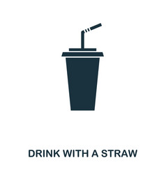 drink with a straw icon mobile apps printing and vector image