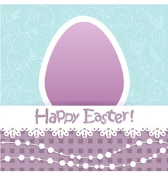 Easter egg floral card with lace and beads vector image