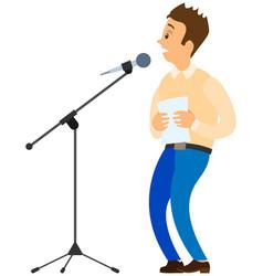 Fear of public speaking cartoon male character vector