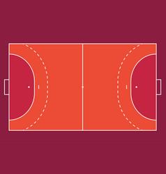 Field for handball orange outline lines vector
