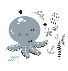 flat doodle octopus underwater life pattern vector image