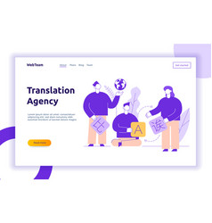Flat line translation design concept vector