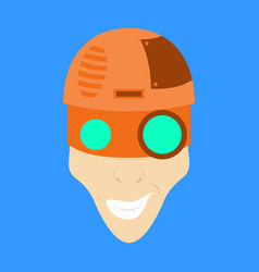Friendly robot character with flat cartoon vector