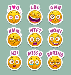 Funny cartoon stickers with yellow emoji face and vector