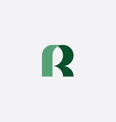 geometric green logo letter r icon symbol vector image