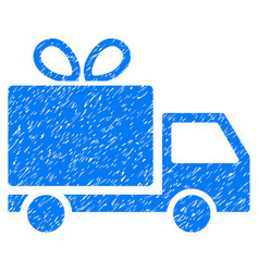 Gift delivery grunge icon vector