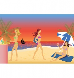 girls beach party vector image vector image