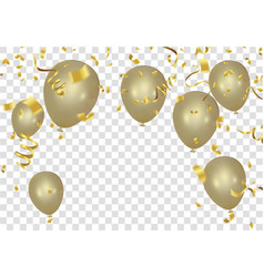 gold balloons and confetti party banner with and vector image