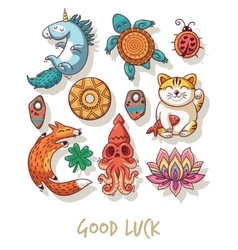 Good Luck Lucky amulets and happy symbols set vector