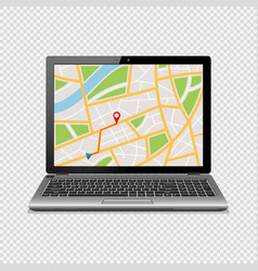 Gps map on display of laptop isolated on vector